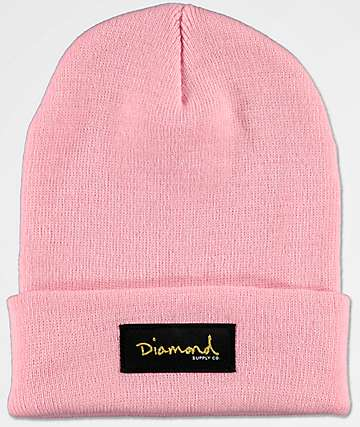 Diamond Supply Co. Gold Foil Pink Beanie