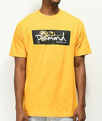 Diamond Supply Co. Gold Rose Box Logo Gold T-Shirt