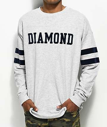Diamond Supply Co. Grey Long Sleeve Football T-Shirt