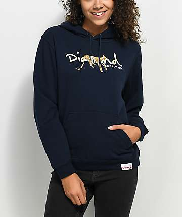 Diamond Supply Co. Leopard OG Navy Hoodie