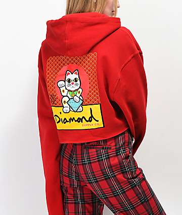 Diamond Supply Co. Lucky Cat sudadera corta con capucha roja