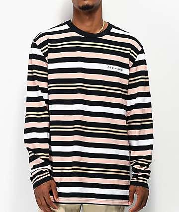 Diamond Supply Co. Marquise Black, Brown & Orange Striped Long Sleeve T-Shirt