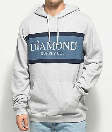Diamond Supply Co. Mayfair Grey & Blue Hoodie