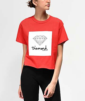 c811789ec5d Diamond Supply Co. Mini OG Sign Red Crop T-Shirt