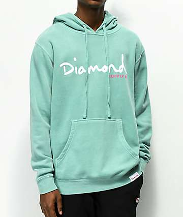 Diamond Supply Co. OG Script Blue Pigment Dyed Hoodie