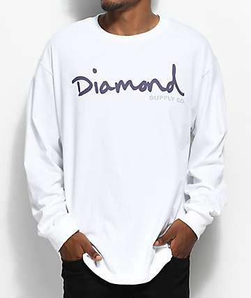 Diamond Supply Co. OG Script Long Sleeve White T-Shirt