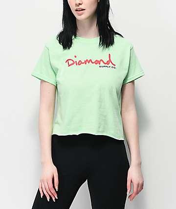 Diamond Supply Co. OG Script Mint Green Crop T-Shirt