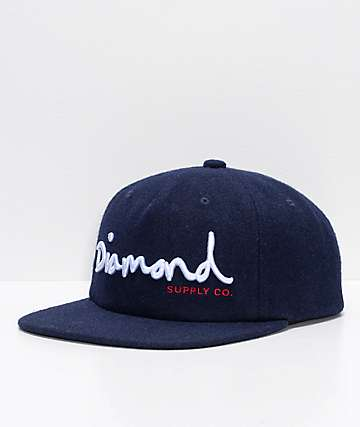 Diamond Supply Co. OG Script Navy Wool Snapback Hat