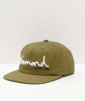 608e178adde Diamond Supply Co. OG Script Olive Strapback Hat