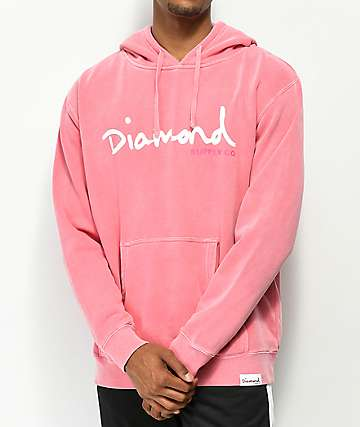 Diamond Supply Co. OG Script Pigment Dyed Pink Hoodie