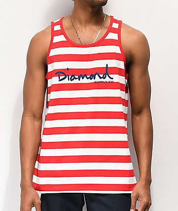 Diamond Supply Co. OG Script Red & White Stripe Tank Top
