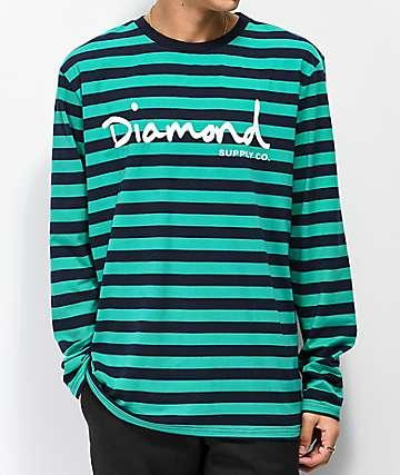 Diamond Supply Co. OG Script Turquoise & Navy Striped Long Sleeve T-Shirt