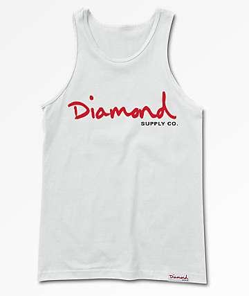 Diamond Supply Co. OG Script White Tank Top
