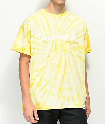 Diamond Supply Co. OG Script Yellow Tie Dye T-Shirt