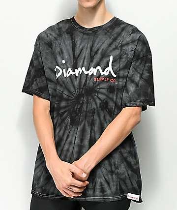Diamond Supply Co. OG Script camiseta negra con efecto tie dye