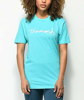 Diamond Supply Co. OG Script camiseta turquesa