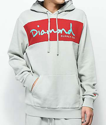 Diamond Supply Co. OG Script sudadera  gris con capucha