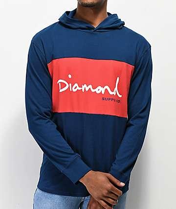 Diamond Supply Co. OG Script sudadera con capucha roja y azul