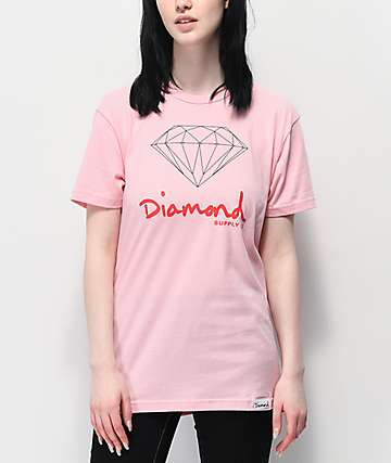 Diamond Supply Co. OG Sign Pink Boyfriend T-Shirt
