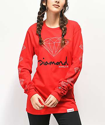 Diamond Supply Co. OG Sign Red Long Sleeve T-Shirt