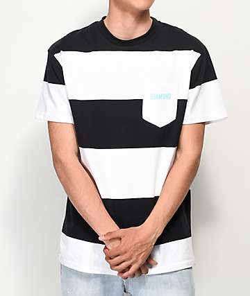 Diamond Supply Co. Origin Black & White Stripe T-Shirt