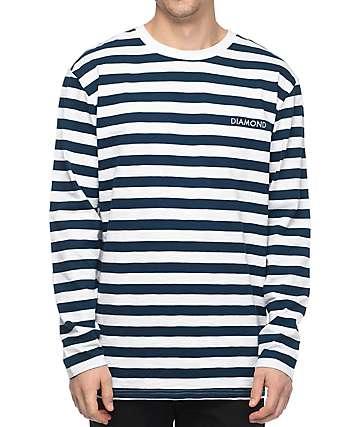 Diamond Supply Co. Pablo camiseta de manga larga en blanco y azul marino