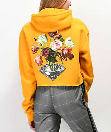 Diamond Supply Co. Pollination sudadera corta con capucha amarilla