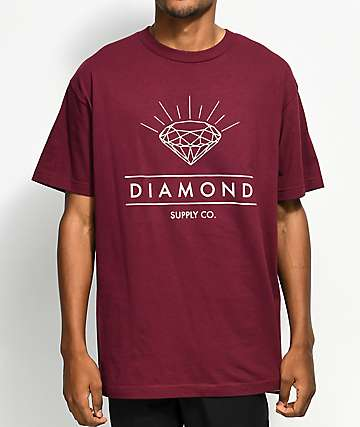 Diamond Supply Co. Radiance camiseta borgoña