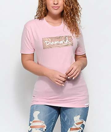 Diamond Supply Co. Rosary Box Logo camiseta en rosa clara