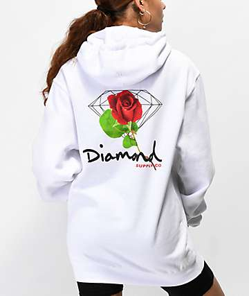 Diamond Supply Co. Rose Diamond White Hoodie