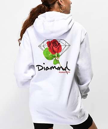 Diamond Supply Co. Rose Diamond sudadera blanca con capucha