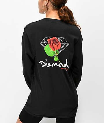 Diamond Supply Co. Rose OG Sign camiseta negra de manga larga