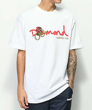 Diamond Supply Co. Rose Snake OG Script camiseta blanca
