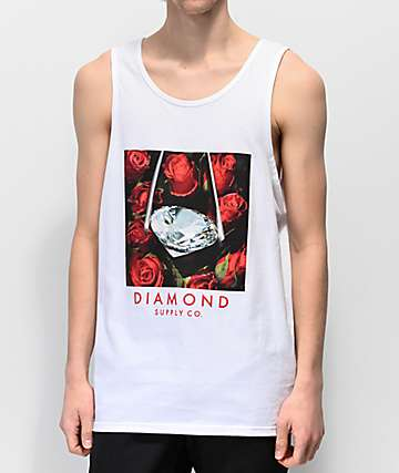 Diamond Supply Co. Roses White Tank Top