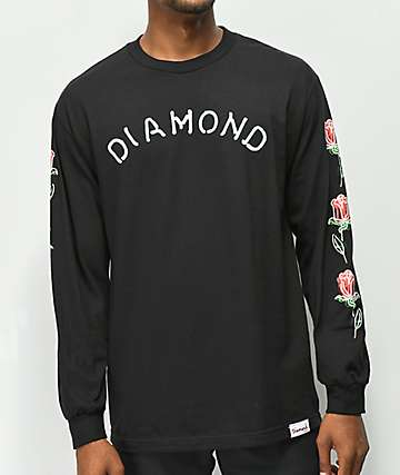 Diamond Supply Co. Rosette camiseta negra de manga larga