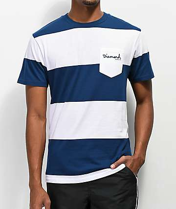 Diamond Supply Co. Script camiseta de rayas azules y blancas