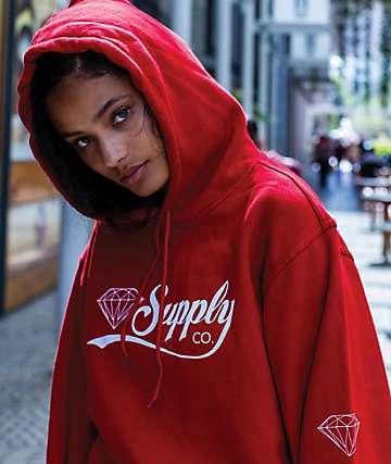 Diamond Supply Co. Script sudadera roja con capucha