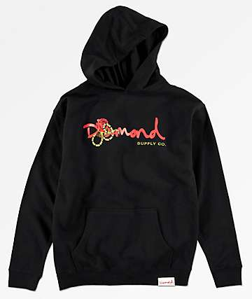 Diamond Supply Co. Snake sudadera negra con capucha para niños