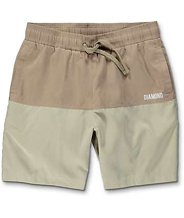 Diamond Supply Co. Speedway board shorts híbridos en color caqui