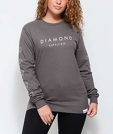 Diamond Supply Co. Stone Cut camiseta gris de manga larga