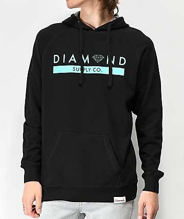 Diamond Supply Co. Stone Cut sudadera con capucha negra y azul