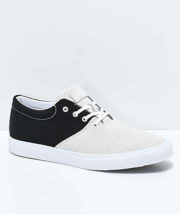 Diamond Supply Co. Torey White Suede & Black Canvas Skate Shoes