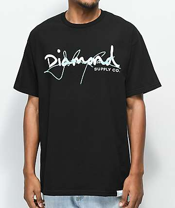 Diamond Supply Co. X Johnny Cash Script Black T-Shirt