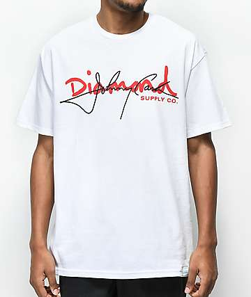 Diamond Supply Co. X Johnny Cash Script White T-Shirt