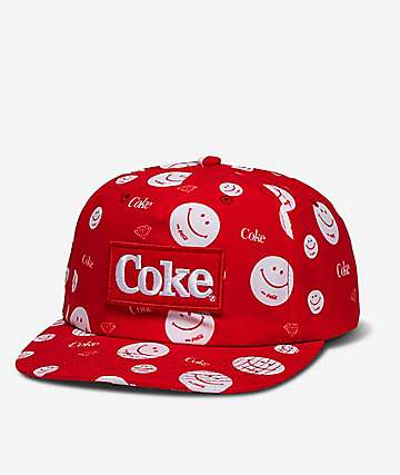 Diamond Supply Co. x Coca-Cola  Smile Red Snapback Hat