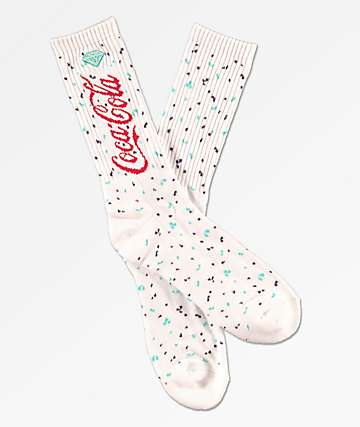 Diamond Supply Co. x Coca-Cola Paint Splatter White Crew Socks