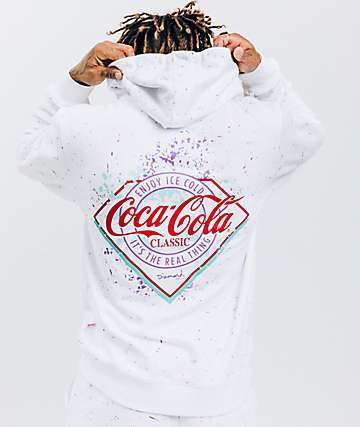 Diamond Supply Co. x Coca-Cola Splatter Paint White Hoodie