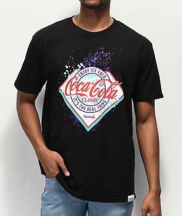 Diamond Supply Co. x Coca-Cola camiseta negra con salpicaduras