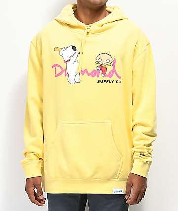 Diamond Supply Co. x Family Guy OG Script sudadera con capucha amarilla