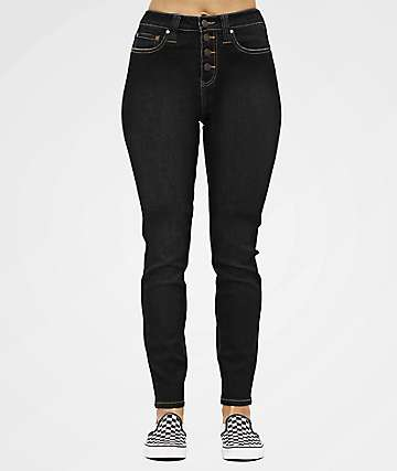 Dickies 5 Pocket Exposed Button Black High-Rise Skinny Jeans